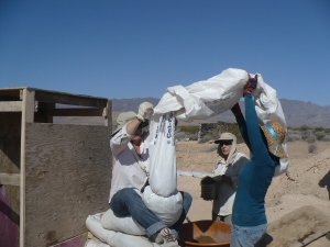 Carla,Shirley, Liz behind, putting mud into the long bag